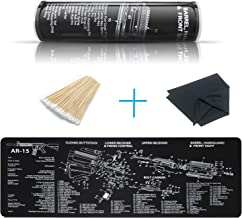 YFEEX Gun Cleaning Mat Pad (36.2'' X 12.2'')-Ar15 Cleaning Mats with Cotton Swabs & Cleaning Cloth-Workbench Mat - with Ar 15 Parts Diagram