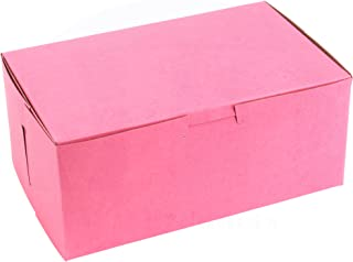 8 in Length x 5 in Width x 3 1/2 in Height Clay-Coated Paperboard Non-Window Lock Corner Pink Bakery Box by MT Products (15 Pieces)