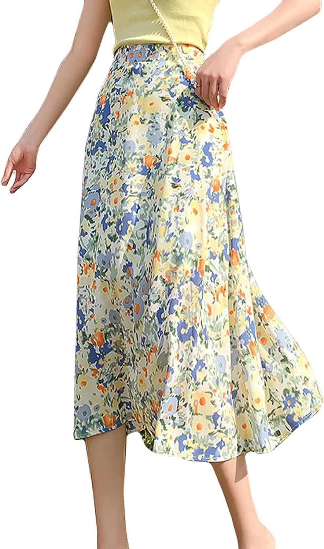CHARTOU Women's Chiffon Lovely High Waist Floral Print Elastic Back Flowy Ruffle Midi Skirt
