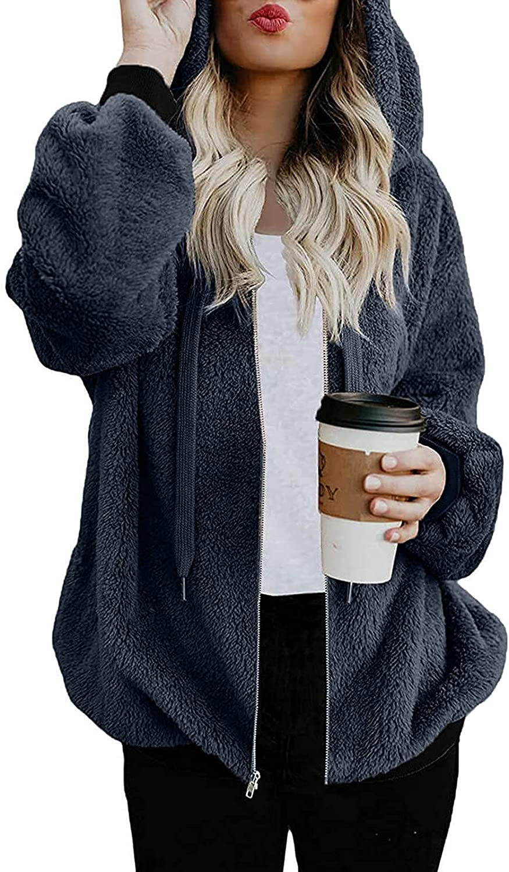 HONGJ Fluffy Zipper Hoodies for Womens, Plus Size Fuzzy Cozy Warm Hooded Sweatshirts Zip Jackets Casual Lightweight Coat