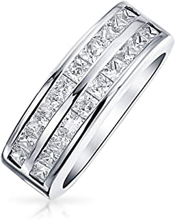 Bling Jewelry Two Row Cubic Zirconia Channel Set Princess Cut AAA CZ Anniversary Wedding Band Ring for Women925 Sterling Silver