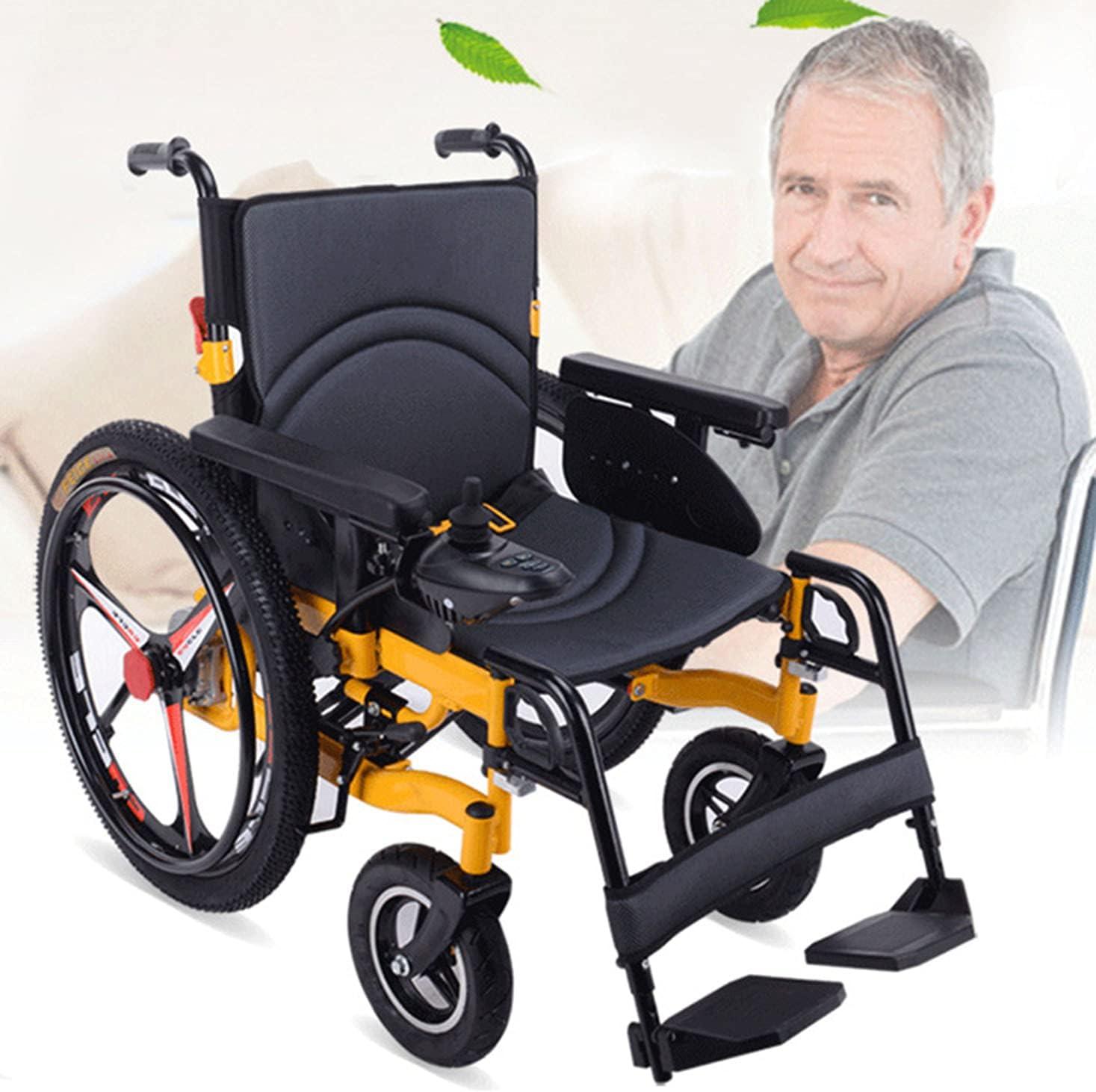 ASEDF 2021 Silla de Ruedas eléctrica Vehículo de Cuatro Ruedas Scooter Anciano Luz Plegable Elder con discapacitados para discapacitados para discapacitados 24in Big Tire