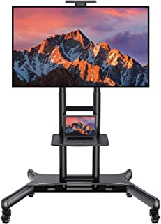 Rolling/Mobile TV Cart with Wheels for 32-65 Inch LCD LED Plasma Flat Screen TVs - AV Floor TV Stand with Shelf Holds Up to 100 lbs, Height Adjustable Trolley Max VESA 600x400mm & Wire Management