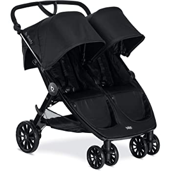 BRITAX B-Lively Double Stroller | Adjustable Handlebar + Easy Fold + Infinite Recline + Front Access Storage, Raven