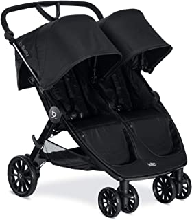 Britax B-Lively Double Stroller, RavenAdjustable Handlebar + Easy Fold + Infinite Recline + Front Access Storage