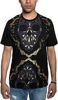 Men's Dual Skull Metallic Graphic T-Shirt (L, Black Gold Foil)