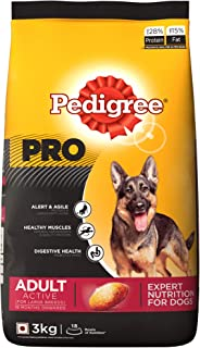 Pedigree PRO Expert Nutrition Active Adult Large Breed Dogs (18 Months Onwards) Dry Dog Food 3kg Pack