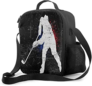 KiuLoam Vintage Ice Hockey Player Kids Small Lunch Box Children's Insulated Lunch Bag with Zipper Shoulder Strap Cooler Lu...