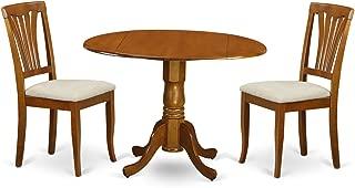 East West Furniture 3-Piece Kitchen Nook Dining Table Set, Saddle Brown Finish