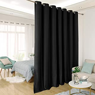 Deconovo Wide Blackout Curtain for Sliding Glass Door Room Divider Curtain Thermal Insulated Blackout Patio Door Curtain Panel, 8.3ft Wide x 7ft Tall, 1 Panel, Black