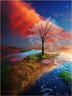 Four Seasons Tree Landscape DIY Diamond Painting Accessory Full Square Drill 5D Embroidery Cross Stitch Home Decoration,L0020,30x40cm
