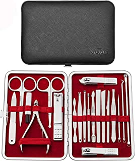 Zilink Manicure Set Nail Clippers for Men and Women Set of 20pcs Professional Nail Grooming Kit with Deluxe Travel Leather Case (Black)