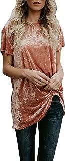 Womens Velvet Short Sleeve Crew Neck Plain Casual Loose T Shirts Tops Blouse