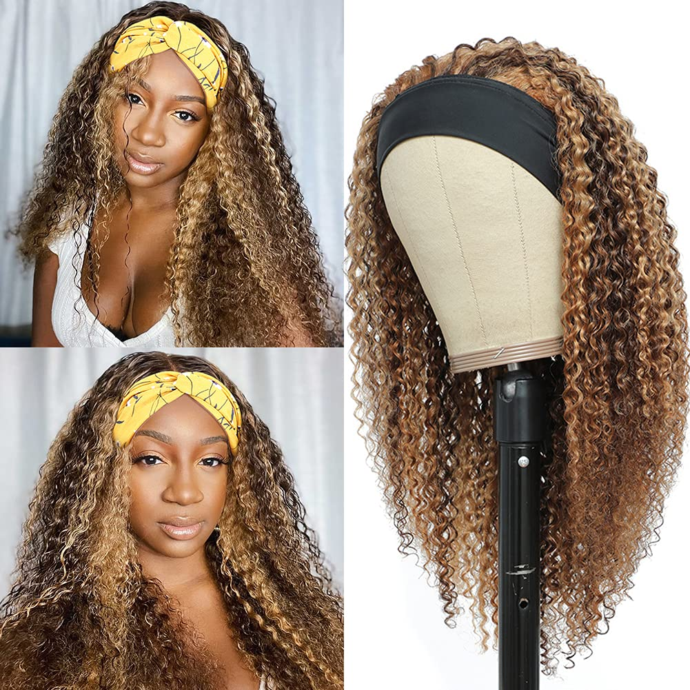 Yavida Tulsa Mall Highlight Headband Wig Curly Inventory cleanup selling sale 18 Hair Inch Blond Human