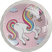 Lade Handgrepen Kabinet Knoppen Ronde Pack van 4 voor Kast, Lade, Borst, Dressoir etc. Paardenwolken Roze