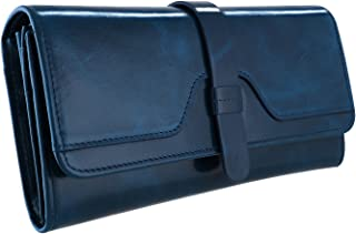 Kattee Vintage Women's RFID Blocking Genuine Leather Trifold Wallet (Blue)