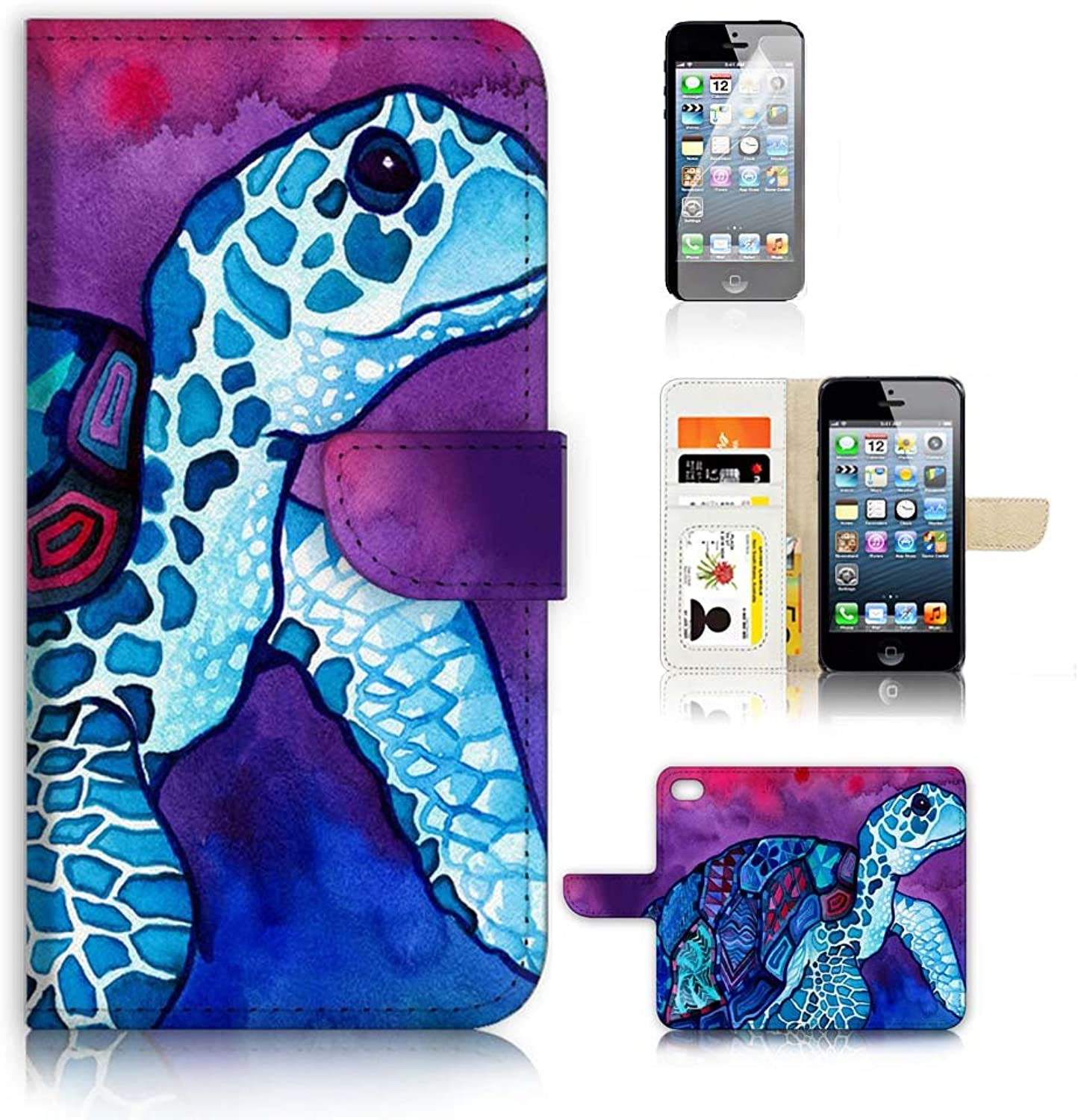 3767d6dc5d2 IPhone 5 5S iPhone SE Flip Wallet Case Cover & Predector Bundle A20298  Turtle Paint Screen nwimpp1723-Sporting goods