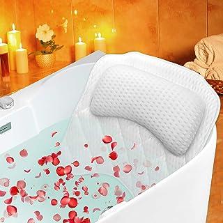 Almohada de baño,MAQUITA Cojín de Baño con 6 Ventosas Antideslizante de tecnología malla de aire 4D Soporte Cabeza, Cuello, Hombros y Espalda reposacabezas bañera y accesorios,Jacuzzi y Hidromasajes