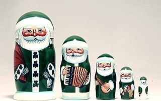"Golden Cockerel Made in Russia Authentic Irish Santa Nesting Doll 5pc./5"" Saint Nicholas Collectible Babushka Russian Doll 100% Guaranteed!"