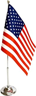 IrisUSA USA Desk Flag (6 x 9 Inches) Polyester Mini US American Flag with Stand, Patriotic Decoration for Office Desk Décor, Classroom and Home Office