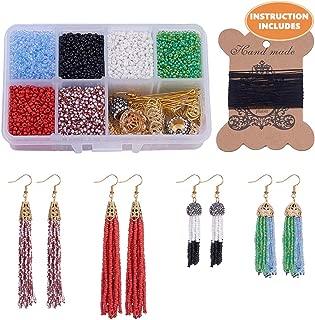 SUNNYCLUE 1 Box DIY 6 Pair Beaded Tassel Earrings Boho Long Fringe Drop Dangle Earrings Making Kit Art Crafts Making Supplies Instruction for Girls Women