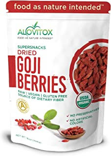 Alovitox Organic Goji Berries 16 oz   Raw, Vegan, Gluten Free Super Snack High in Plant Based Protein, Dietary Fiber, Vitamin A & Iron   Large Berries for Eating, Trail Mixes, Smoothies and Salads