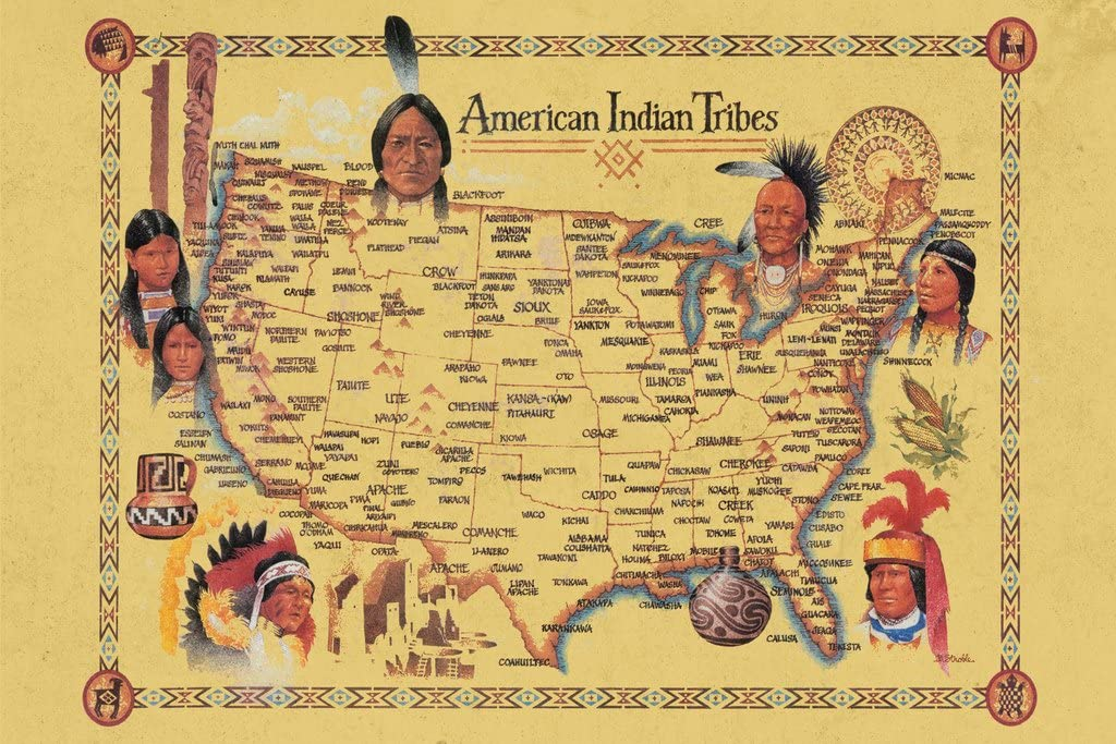 Map Of Indian Tribes In Us Amazon.com: American Indian Tribes at Time of Columbus Arrival Map