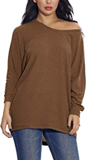 EXCHIC Women's Knit Pullover Sweater Casual Loose Solid Tunic Tops Oversized