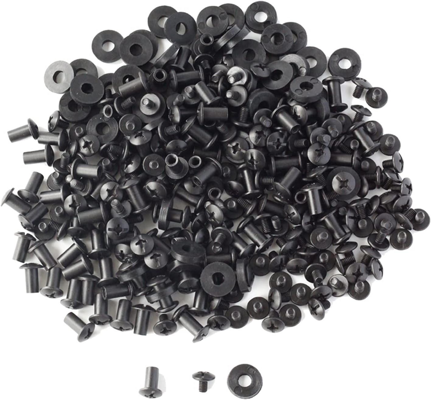 XINLIN Ruderude 100 Sets Black Cross Head Tornillos de Chicago Lavadoras de Goma Custom Kydex Pistola Cuchillo Hechos Montaje Montaje Asamblea
