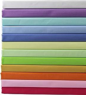 aufodara Lot de 12 Tissus Coton Couleur Unie Textile Patchwork Chiffons Couture Quilting DIY Fabric à la Main en Tissu à C...