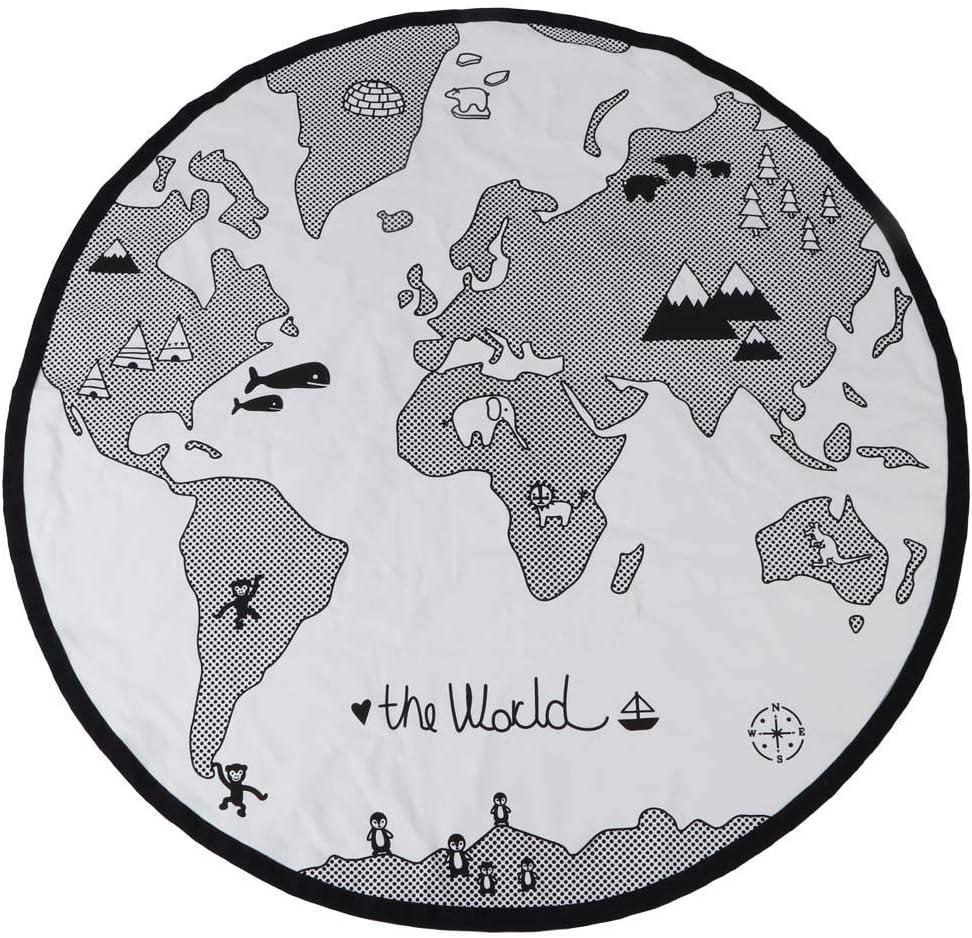Baby Game Blanket, 135cm Baby Round Adventure World Map Pattern Circular Kid Game Mat Thicken Baby Crawling Play Mat