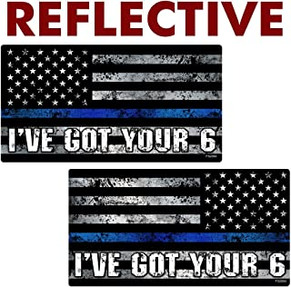 AZ House of Graphics Reflective Thin Blue Line I've Got Your 6 Mirrored Flag Stickers 2 Pack