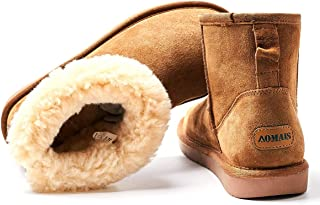 AOMAIS Women's Winter Snow Boots Fur Lined Mid Calf and Mini Outdoor Warm Boot Shoes Ankle Short Booties