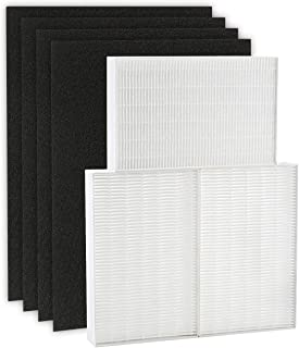isinlive True HEPA Filter R, HRF-R3 Compatible with Honeywell Air Purifier HPA300 3 Pack with 4 Pack Precut Activated Carbon Pre-Filters Replacement HRF-AP1