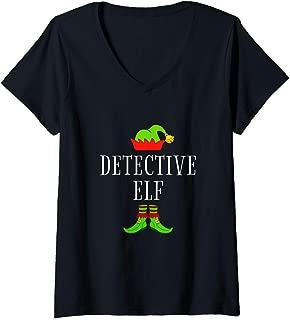 Womens Detective Elf Costume Funny Christmas Xmas Holiday Matching V-Neck T-Shirt