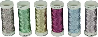 Simthread 6 Colors 3-Ply Metallic Shuttle Tatting Yarn 50 Meters Each for Shuttle Tatting Jewellery lacemaking (Color 2)