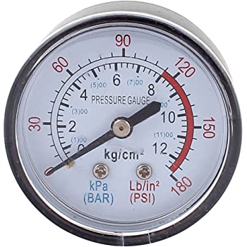 UEETEK Manómetro de presión de vacío para el compresor de aire Agua Gas de petróleo 0-30HG: Amazon.es: Industria, empresas y ciencia