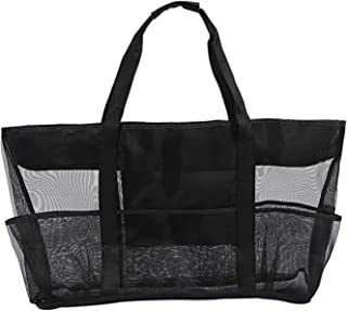 SODIAL XXL Mesh Beach Bag Family Mesh Beach Bag Mesh Bag for Sand Toys, Extra Large Family Mesh Beach Bag Tote, Black