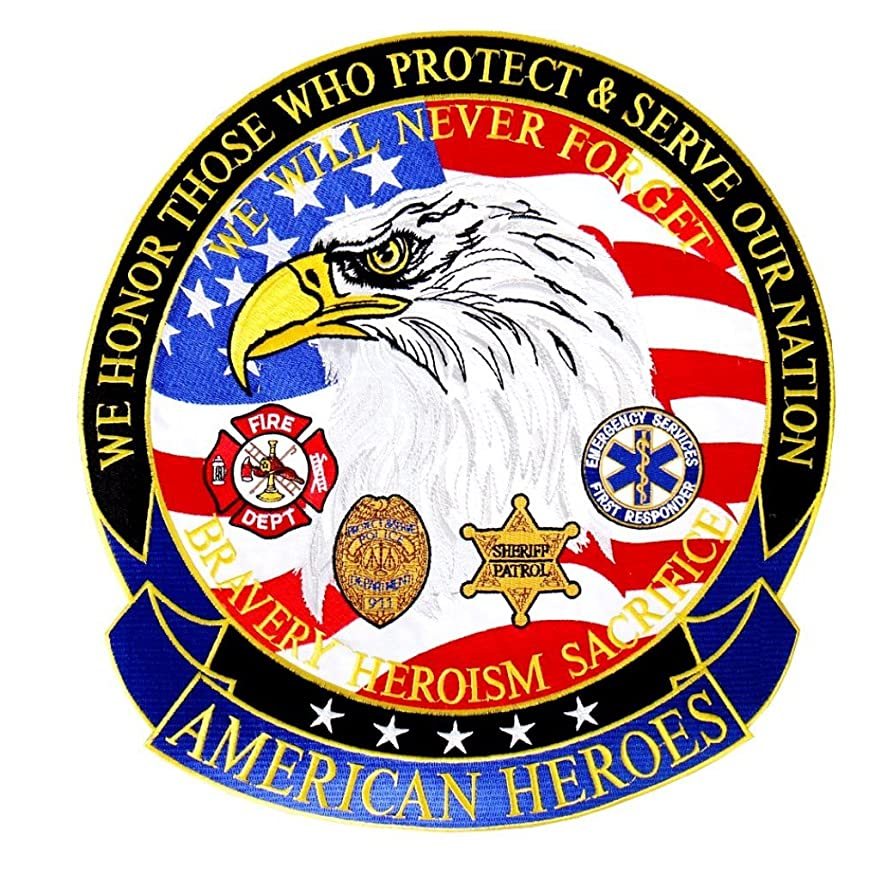 American Heroes EMT Sheriff Police Fire Dept Embroidered Back Patch Iron Sew HLPM8886