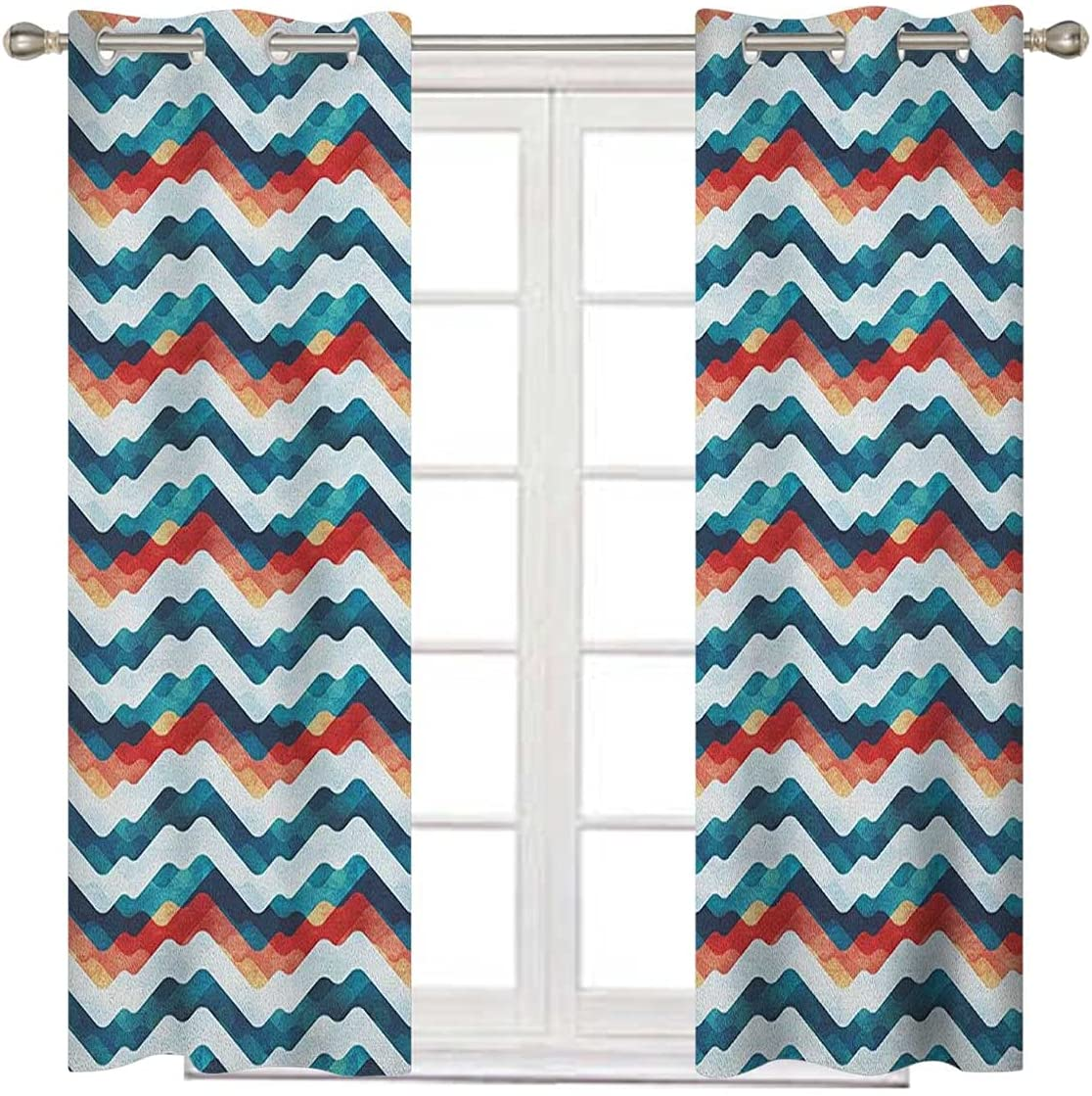 Abstract Curtains for Bombing free shipping Bedroom 84 Inches Whi Some reservation Teal Vermilion Long