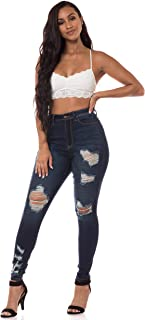 Aphrodite High Waisted Jeans for Women - Skinny Womens Hand Sanding Distressed Ripped Jeans