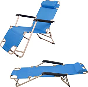 """LUCKYERMORE 2 Pack Portable Lounge Chairs and Full Flat Cot 2 in 1, Folding Reclining Chairs for Outdoor Lawn Beach Pool Camping, 60"""" L x 19 W, Blue"""