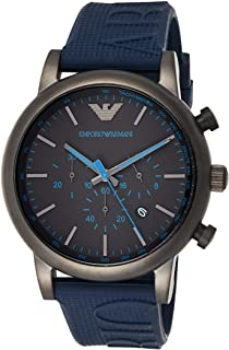 Emporio Armani Men's 'Luigi' Quartz Stainless Steel and Silicone Casual Watch, Analog Display