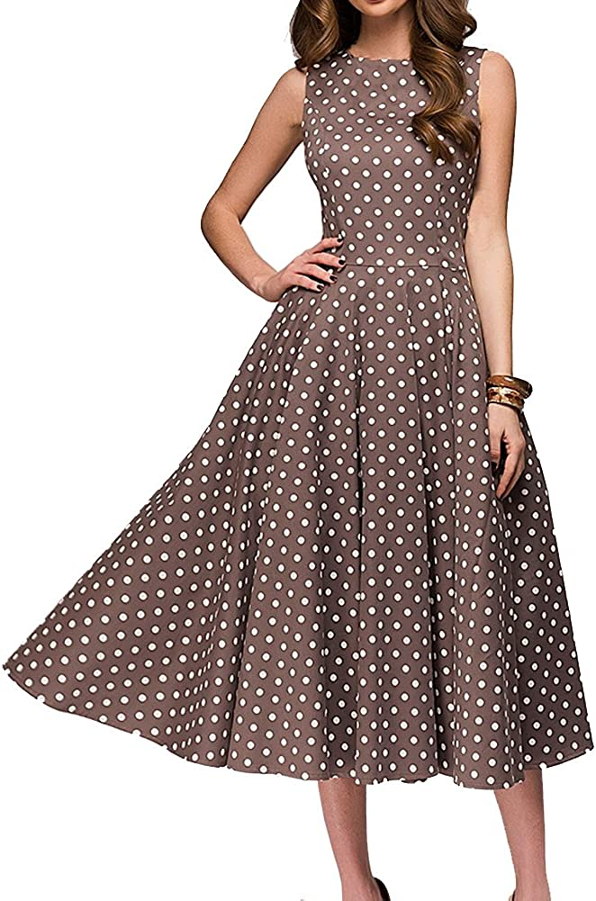 Simple Flavor Women's Vintage Dress Sleeveless O-Neck Party Cocktail Dress