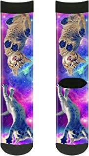 Buckle-Down Unisex-Adult's Socks Cats in Space Pinks/Blues Crew, Multicolor,