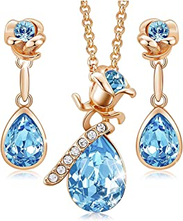 KKX Rose Flower Jewelry Sets for Women Mother's Day Jewelry Gifts 18K Rose Gold/White Gold Plated Necklace Earrings Set Em...