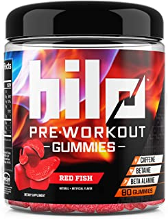 Hilo Pre Workout Gummies - no Powder Pre Workout for Men and Women - with Caffeine, Beta Alanine and Betaine - Red Fish Flavor, 80 Count