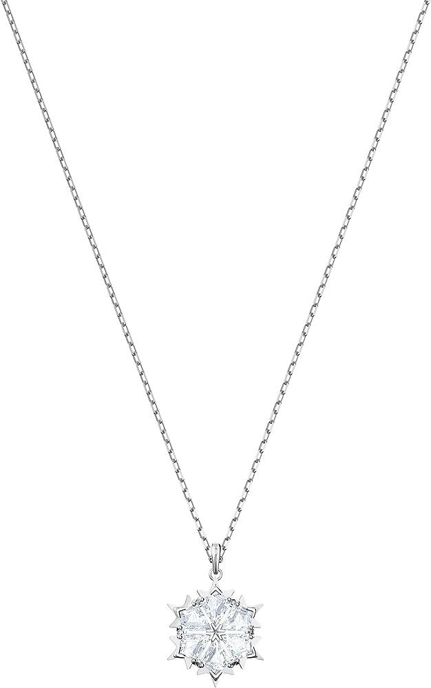 Swarovski  magic,collana con pendente per donna placcata rodio