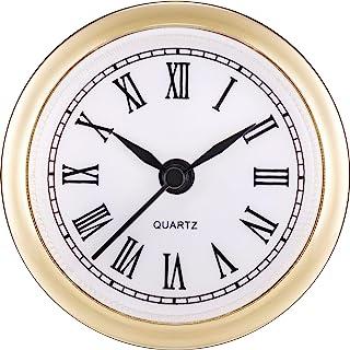 Hicarer 2.4 Inch (61 mm) Quartz Clock Fit-up/Insert with Roman Numeral, Quartz Movement (Gold Rim)