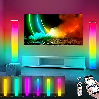 2 بسته RGB چراغ های گوشه ای APP رنگ هوشمند تغییر LED موسیقی چراغ خلق و خو